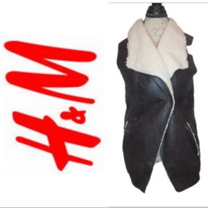 h&m sherpa and leather vest brown nwot